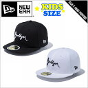 NEWERA ニューエラ KIDS 59FIFTY BROOKLYN SCRIPT BLACK WHITE ブルックリン ロゴ ブラック ホワイト 黒 白 ベースボール ストラップバック キャップ メンズ 男性 レディース 女性 帽子 小物 アクセサリー