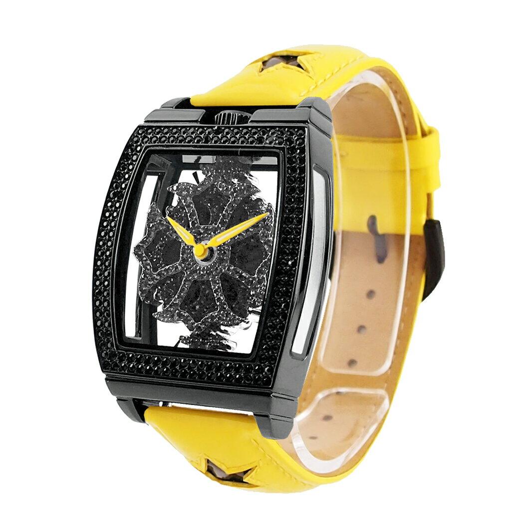 5920408496 【公式】アンコキーヌ Anne Coquine 腕時計 時計 スクエアースケルトンブラック エナメルスターベルト:イエロー 1343-0206 ウォッチ  ブランド 高級 防水 電池式 ...