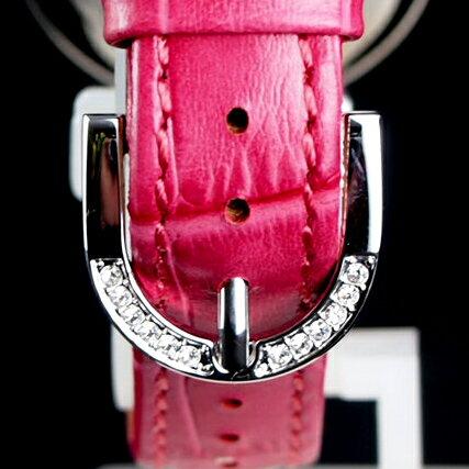 アンコキーヌ/ぐるぐる時計/ミニクロスシルバーベゼル(本体:ピンク×ベルト:ピンク)1106-0505