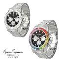 (公式)腕時計 時計 アンコキーヌ Anne Coquine メンズ レディース A-812 クロノグラフ ブラックフェイス...