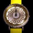 アンコキーヌ ぐるぐる時計 ラインゴールドベゼル【イエロー×イエロー】(1203-0606) ぐるぐる くるくる グルグル アクセサリー 男女兼用 新作 腕時計 デザイン時計 ジュエルウォッチ  レディース 腕時計 メンズ/革ベルト