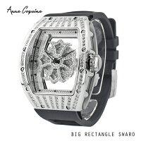 (公式) アンコキーヌ Anne Coquine 腕時計 メンズ 時計 ビッグレクタングルスワロ シルバー ブラック 1147-1402 クリスタルストーン ユニセックス ラグジュアリー 記念日 ブランド 高級 ペア ぐるぐる くるくる 回る ゴージャス プレゼント ギフト