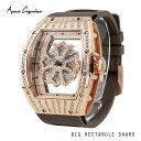 **4月中旬以降発送予定**Anne Coquine(アンコキーヌ)ビッグレクタングルスワロ(ゴールド×ブラウン) 1247-1509スワロフスキーユニセックス時計メンズ時計ラグジュアリー腕時計プレゼント記念日