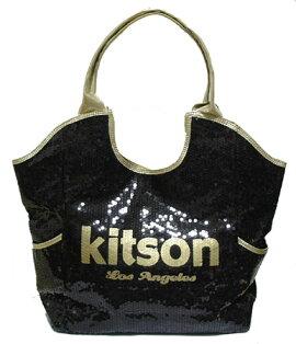 KITSONスパンコールトートバッグLosAngelesSequinToteBlack/Gold