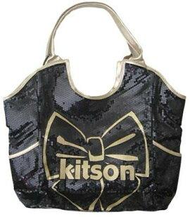 KITSONスパンコールトートバッグLosAngelesBowSequinToteBlack/Gold