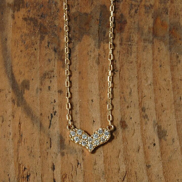 【Heart Paves】 ネックレス ハート パヴェ ダイヤモンド レディース ペンダント k18 18金 18k ゴールド ピンクゴールド ホワイトゴールド 女性 大人 ダイアモンド 華奢 かわいい プレゼント ギフト