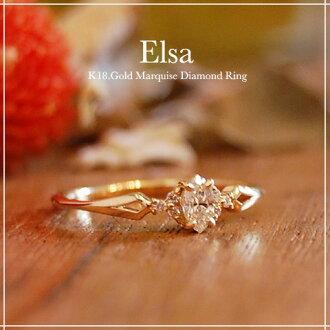"K18 侯爵夫人切""Elsa""女士撥打 18 k 金戒指 18 k 金大小問題首飾白色黃金鉑金成人環加蓋日本 P15Aug15 克拉的鑽石戒指"