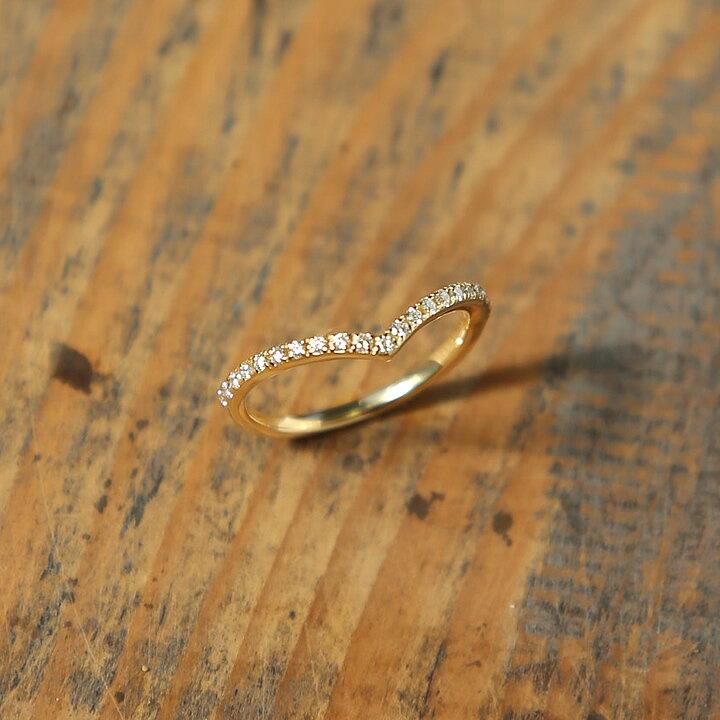 K18 ダイヤモンド Vライン リング 「V Line Stack  Half Eternity Dia Ring」リング 指輪 ダイヤモンド ダイアモンド ゴールド 18k 18金 サイズ 号 レディース ring大人 華奢 日本製 プレゼント ギフト 【RCP】:Avaron