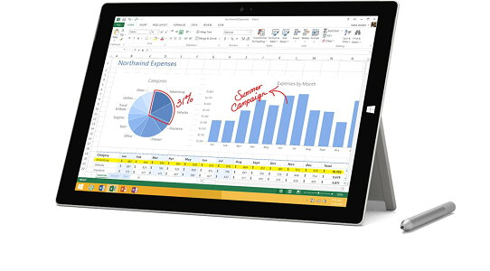 MicrosoftSurfacePro3(PU2-00017)Windows10Pro/12インチタッチパネル/Corei7/メモリ8GB/SSD512GB/無線LAN/Surfaceペン付属/多言語版
