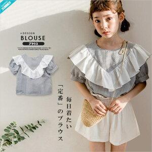256608de2eb2f  SOON 春 再入荷 Bストライプ フリル ブラウス コットン100% Tシャツ ベーシック. ¥2
