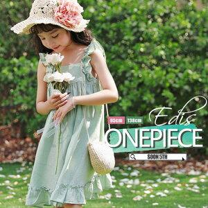 韓国子供服 子ども こども 服 ふく soon ノースリーブ ワンピース ドレス シャーリング 女の子 女児 キッズ ジュニア コドモ こども 95cm 100cm 120cm 130cm 140cm