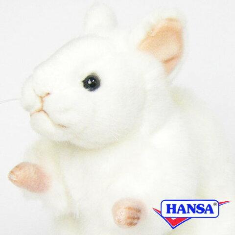 HANSA ハンサ ぬいぐるみ5323 白ねずみ WHITE MOUSE