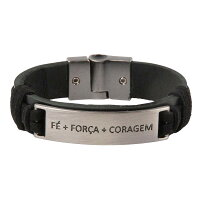 FE+FORCA+CORAGEMワンタッチ革紐ブレスレットブラック