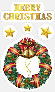 【3万円以上送料無料 粗品 記念品】クリスマスの店舗装飾品カテゴリの[店舗装飾品] ウィンドウステッカーリース ポップ用品/店舗用/棚飾りつけ