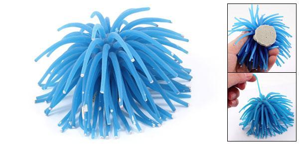 uxcell 水槽オーナメント アネモネ飾り イソギンチャク 人工植物 アクアリウムオーナメント シリコーン ホワイトドット ブルー
