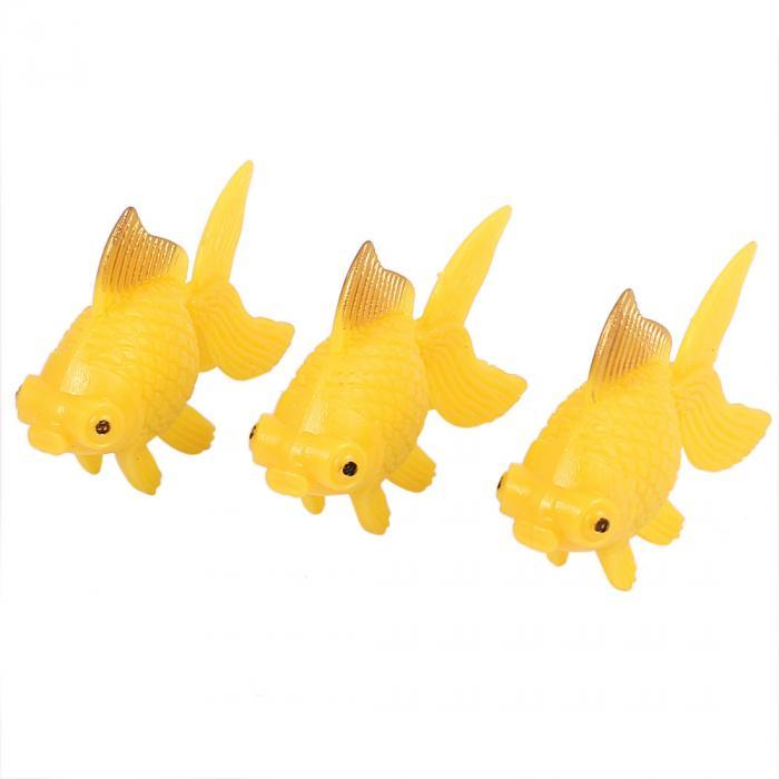uxcell 人工金魚 飾り 水槽用 オレンジ プラスチック 3個入り