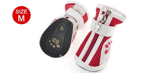 uxcell 犬用靴 M ペット犬 ジッパークロージャー チワワ メッシュ靴 2ペア
