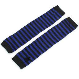 ソウテン アームウォーマー 指なし 手袋 ストライプ柄 グローブ 防寒 フィンガーレスグローブ スマホ対応 ブルー 長さ33cm
