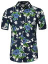 ソウテン 柄シャツ メンズ 半袖 アロハシャツ ワイシャツ 総柄 カラフル ファッション カジュアル ブルーココナッツ 34