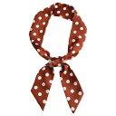 ソウテン リボンスカーフ ネッカチーフ 長方形 細い 水玉 髪飾り バッグ飾り シルク風 オフィス レディース ブラウン 5x90cm