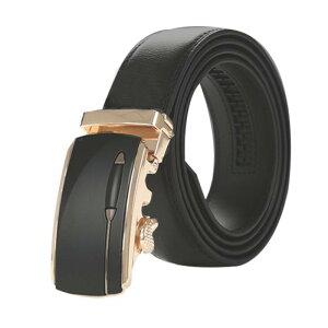 ソウテン メンズ ベルト オートロック 自動バックル 穴なし ラチェット サイズ調整可能 紳士 ビジネス レザーベルト ブラック ゴールド 全長120cm (ウェスト90-100cm)