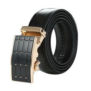 ソウテン メンズ ベルト オートロック 自動バックル 穴なし ラチェット サイズ調整可能 紳士 ビジネス レザーベルト ブラック タータン 全長120cm (ウェスト90-100cm)
