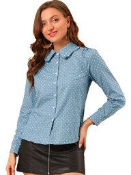ソウテン Allegra K ボタンダウン ワークシャツ 水玉 フリルポイントカラー 長袖 レディース ブルー XL
