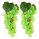 ソウテン 置物 人工果物 家庭 テーブル 装飾 プラスチック製 工芸品 シミュレーション 人工 果物 ブドウ グリーン 2個入り