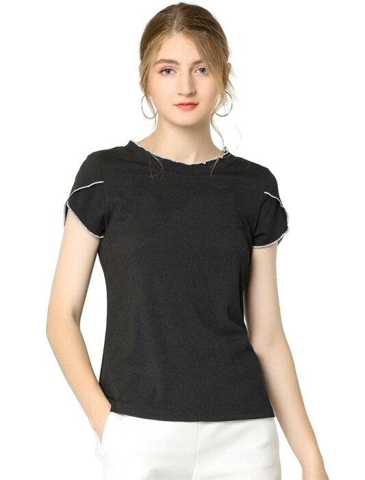 ソウテン tシャツ カットソー トップス 丸首 半袖 チューリップスリーブ オフィス レディース ブラック S