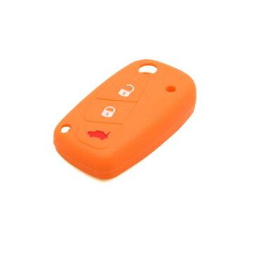 ソウテン 車のリモートキーケース キーカバー キーホルダー シリコーン 3つボタン オレンジ フィアット ビアッジョ オッティモ フリーモントに適用
