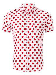 ソウテン Allegra K メンズ ボタンダウンシャツ 半袖 綿 水玉プリント 襟付き カジュアル ピンクホワイト 38
