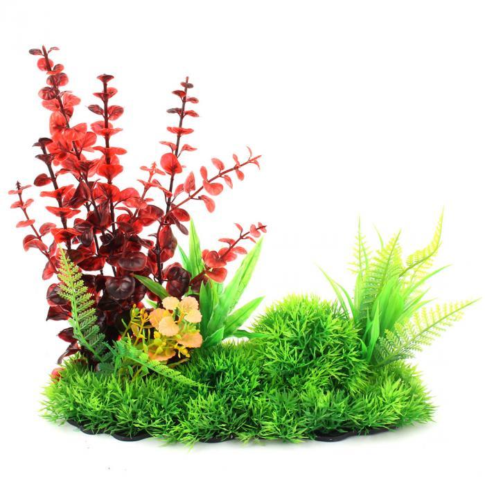 uxcell 水槽プラント プラスチック植物 魚タンク装飾 人工水草 赤い 緑