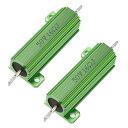 uxcell メタルクラッド抵抗 アルミニウムハウジング抵抗 リングドアベル抵抗器 50W 16 Ohm グリーン 2個入り
