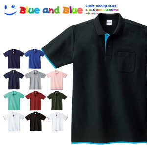 BLUE AND BLUE ブルーアンドブルー ポロシャツ レイヤード メンズ 半袖 S M L LL 3L 4L 5L 無地 シンプル ポケットあり トップス 夏服 シャツ ゴルフ テニス カジュアル 通勤 クールビズ ビズポロ 大きいサイズ ブランド 父の日 ギフト