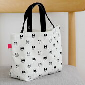 オリジナルの猫雑貨「ソトネコジャパン」ランチトートバッグ、モノグラム柄の日本製グッズ