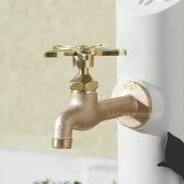 【蛇口】【水栓】お花のハンドルが可愛いゴールドの蛇口「胴長横水栓フラワーハンドル 鋳肌」スミレハンドル
