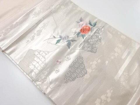 破れ色紙に花模様刺繍名古屋帯【リサイクル】【中古】【着】 宗sou
