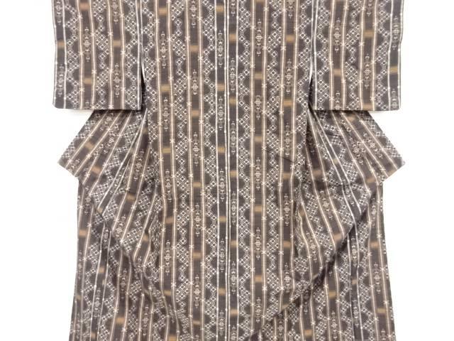 縞に花蜀江紋織り出し手織り真綿紬着物【リサイクル】【中古】【着】 宗sou