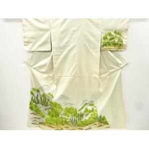 Artist's hand-painted landscape landscape pattern Oshima Tsumugi visiting clothes [Recycled] [Used] [Ki] sou