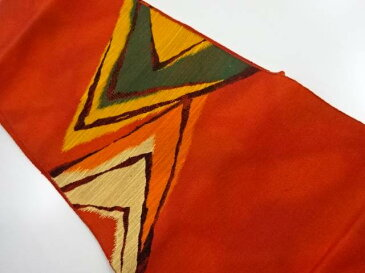手織り紬重ね菱模様織り出し名古屋帯【リサイクル】【中古】【着】 宗sou