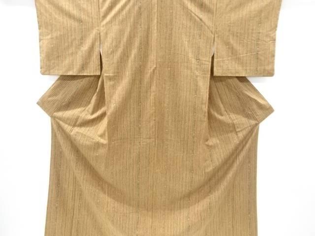 縞に花唐草模様織り出し手織り紬着物【リサイクル】【中古】【着】 宗sou