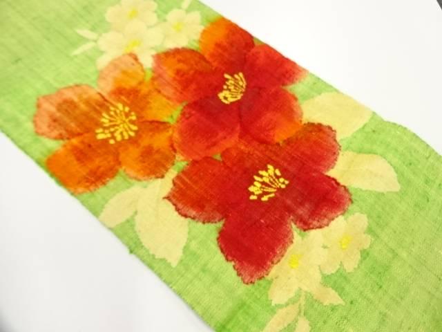 手織り真綿紬花模様織出し名古屋帯【リサイクル】【中古】【着】 宗sou