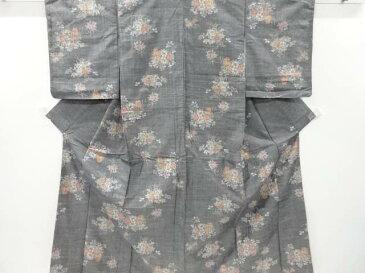 未使用品 草花模様織り出し手織り紬着物【リサイクル】【着】 宗sou