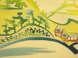 手描き田舎風景模様名古屋帯【アンティーク】【中古】【着】 宗sou