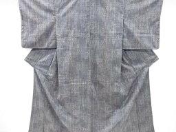 縞に抽象模様織り出し手織り真綿紬着物【リサイクル】【中古】【着】 宗sou