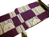 仕立上り女性用浴衣プレタ浴衣紫と生成りの市松模様に梅の柄フリーサイズBL04