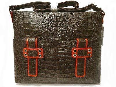 カイマンバッグワニ革ショルダーバッグ爬虫類男女兼用バッグツートンカラー茶色にオレンジ