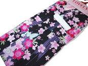 子供用女児仕立て上がり浴衣ゆかた綿紅梅黒地に桜5〜6才用110cm