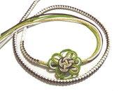 振袖用帯締め正絹組み紐の花飾り付き紫・若草色・白・ゴールド