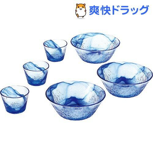 そうめん鉢セット 流蒼 食洗機対応 日本製 ブルー G097-B71(6コ入)